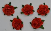 2.5cm RED Mulberry Paper Roses (only flower head)
